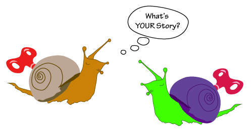 "windup-snail asking another ""what's your story?"""