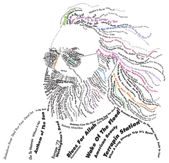Typographic portrait of Jerry Garcia